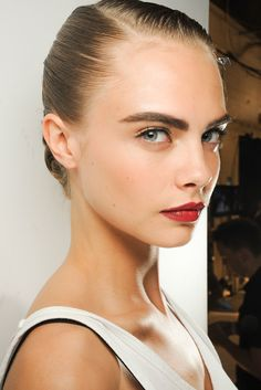 red wine lips and bold eyebrows #beauty #redlips #eyebrows