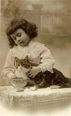 Girl with a cat and bowl of food