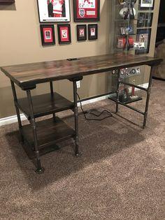 Real Wood Furniture, Building Furniture, Pipe Furniture, Rustic Office Desk, Diy Office Desk, Diy Wood Desk, Diy Desk, Metal Desk Makeover, Houses