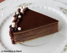 Foto frontal tomada desde muy cerca, para así poder ver bien las diferentes capas del pastel,el pastel se ve de lado sobre el plato blanco c...