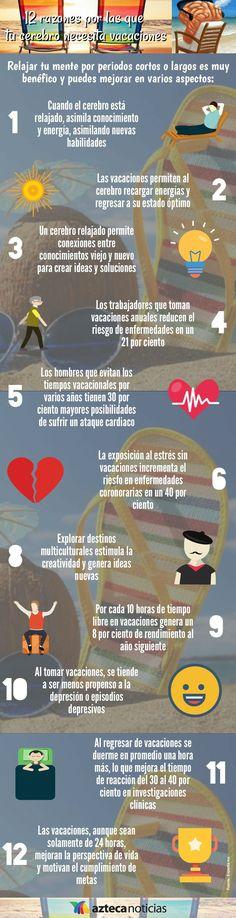 Hola: Una infografía con12 razones por las que tu cerebro necesita vacaciones. Vía Un saludo