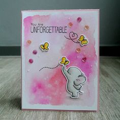"""You Are Unforgettable"" card using the ""Adorable Elephants"" stamp set from ""My Favorite Things""."
