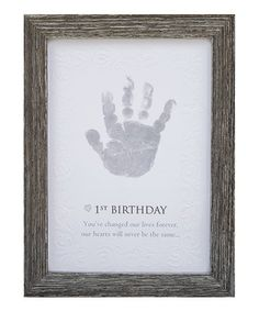 Help celebrate a child's first year in the world with this frame featuring space for their tiny handprint. Includes frame, print, charcoal stamp and W x HWood frameRecommended for ages 0 to 2 years Grandmother Poem, Baby Poems, Grandparent Gifts, Grandchildren, Grandkids, Birthday Wishes, Invitations, Frame, Picture Frame