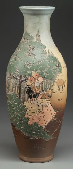 WELLER DICKENSWARE BO PEEP POTTERY VASE, Sculpted by Dr. Upjohn,Painted by Liz Perone, Zanesville, Ohio, circa 1902.