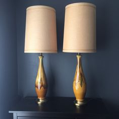 Pair of Tall Mid Century Drip Glaze Lamps by VintageVixens1
