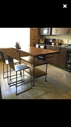 Classic french style hardwood butcher block top metal kitchen industrial pipe and wood kitchen island steel and wood workwithnaturefo