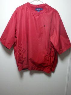 Men's Ralph Lauren Polo Golf Zip Button Pullover Jacket Red Windbreaker Sz Large #PoloRalphLauren #WindbreakerPullover
