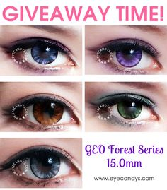 Authentic GEO Forest circle lenses These colored contacts violet color contacts - Violet Things Black Contact Lenses, Cosmetic Contact Lenses, Coloured Contact Lenses, Best Colored Contacts, Green Contacts, Color Contacts, Change Your Eye Color, Forest Color, Circle Lenses