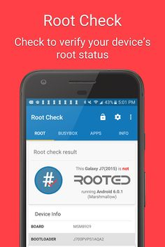 Root Check v4.3.7.0 [Unlocked]   Root Check v4.3.7.0 [Unlocked]Requirements:4.0Overview:Got root? This app will let you know if your device has root (superuser) access. 100% free!  NOTE: This app does not root your device. It does not modify any system files. The sole purpose of the app is to check whether or not a device has root access. It also provides helpful information about root and Android.  This is a great tool for anyone who is interested in rooting an Android device. It provides a…