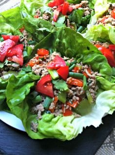 Thai Turkey Lettuce Wraps //  My quick go-to dinner recipe that is healthy and packed full of flavors!