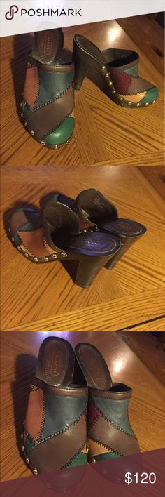 """NWOT COACH Patchwork Platform Clogs ~ Size 6 Awesome leather patchwork upper and rubber soles. Decorative gold-tone studs. This COACH 'Amelia' style dates back but is relevant today!  The quality and sustainability of vintage is unmatched! Never worn; shoes minor aging inside. Size 6. 3-1/2"""". heel. Smoke-free home. Coach Shoes Mules & Clogs"""