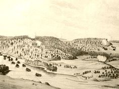 Vintage 1776, Battle of Fort Washington.  British attacking across the Harlem River. The Post Road (today's Broadway) splits Mount Washington (Washington Heights) on the right and Laurel Hill (High Bridge Park) on the left. NYC, www.RevWill.com