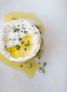 Baked Camembert with Salty Date and Almond Crisps