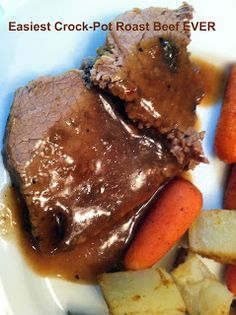Easiest Crock-Pot Roast Beef Ever 1 envelope Ranch, Brown Gravy and Italian dressing with cp water. **This is currently in the Crockpot. I didn't have Italian dressing, so left that out, and used red wine instead of water. Best Crockpot Recipes, Crockpot Dishes, Crock Pot Slow Cooker, Crock Pot Cooking, Beef Dishes, Slow Cooker Recipes, Beef Recipes, Cooking Recipes, Crockpot Meals