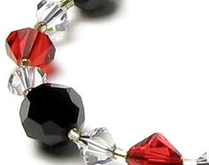 Black Red Clear Swarovski Crystal Necklace, Queen of Hearts, Alice in Wonderland, Girls Night Out, Playing Cards Good Luck Jewelry for Women