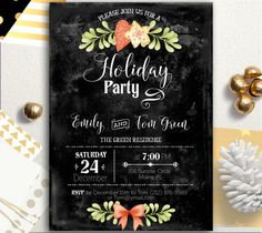Holiday Party Invitation Rustic Christmas Invitation by AlniPrints #christmas #ideas #crafts #diy #photos #gifts #traditions #party #cookies #Party #Invitation #Chalkboard #xmas #download #card #printable #DIY #be #merry