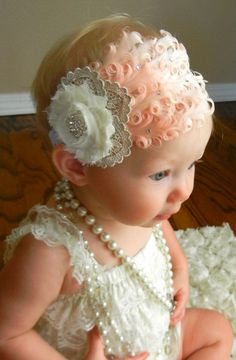 Beautiful and handmade by Grown With Grace!  Show Stopper!!! Gorgeous vintage inspired headband! Pale pink Feather with Swarovski crystals, Ivory/ gold lace rosette with all metal crystal center, all adorn a high quality ivory lace headband! Available now!