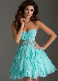 Online Shop Newest 2014 Sexy Fashion Short Mini Organza Blue Beaded Above Mini Homecoming Dresses for Teens Cute Prom Dresses, Grad Dresses, Dance Dresses, Pretty Dresses, Homecoming Dresses, Beautiful Dresses, Dress Outfits, Short Blue Prom Dresses, Dresses Dresses