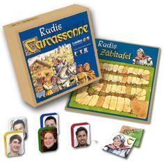 Wir drucken ihre Bilder und Texte auf Brettspiele wie Carcassonne!