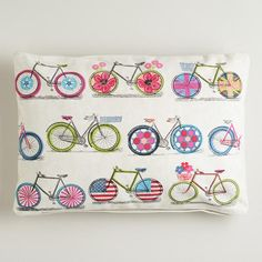 One of my favorite discoveries at WorldMarket.com: Bicycle Print Recycled Tarp Lumbar Throw Pillow