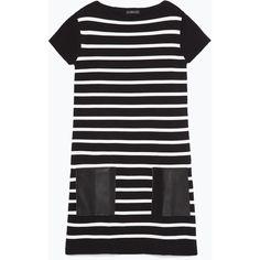 Zara Faux Leather Dress (155 BRL) ❤ liked on Polyvore featuring dresses, tan, vegan dresses, vegan leather dress, fake leather dress, faux leather dress and zara dresses
