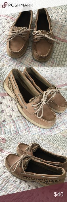 Leopard print Sperrys Leopard print Sperrys size 8 in good condition have only been worn a very few times these are not included in the six items for $20 Sperry Shoes