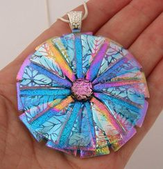 Picasso Style Dichroic Glass Pendant - Delphi Artist Gallery by Dichroic Creations