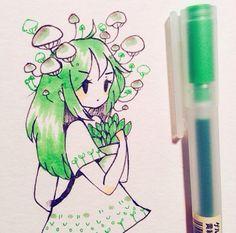 green is my favorite colour Kawaii Drawings, Cool Drawings, Drawing Sketches, Pretty Art, Cute Art, Poses References, Arte Sketchbook, Cartoon Art Styles, Kawaii Art