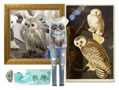 """Owl"" by sarahguo ❤ liked on Polyvore featuring Trademark Fine Art, Grandin Road, Olivia Pratt, Imm Living, Joe's Jeans and Vans"