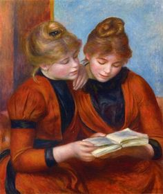 Two Sisters Pierre-Auguste Renoir Oil on canvas. While Renoir's style is Impressionism, this period is a rejection of Impressionism. He became convinced that. Pierre Auguste Renoir, Edouard Manet, August Renoir, Renoir Paintings, Two Sisters, Camille Pissarro, Woman Reading, Claude Monet, Famous Artists