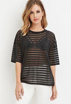 Boxy Shadow-Stripe Top