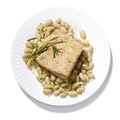 Olive Oil-Poached Salmon with White Beans #fish #healthyfamilydinners