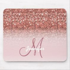 Personalized Girly Rose Gold Glitter Sparkles Name Mouse Pad Custom Brandable USA Electronics Gifts Glitter Canvas, Rose Gold Glitter, Gold Sequins, Custom Mouse Pads, Corner Designs, Holidays And Events, Girly, Sparkles, Bar Outfits