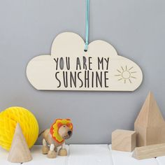 You Are My Sunshine Cloud Decoration by We Are Scamp, the perfect gift for Explore more unique gifts in our curated marketplace. Cloud Decoration, Baby Banners, Baby Shower Presents, Diy Baby Gifts, Felt Baby, Wooden Decor, You Are My Sunshine, Baby Room Decor, Nursery Art