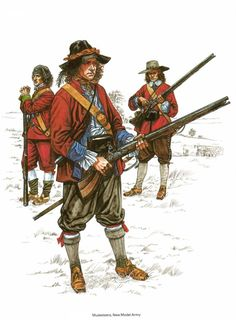 Musketeers of the New Model Army. Although the common image is of flamboyant Cavaliers and lobster-helmeted Roundheads, the uniforms worn by the common soldiers of both sides were almost indistinguishable.