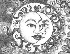 Find images and videos about beautiful, black and white and sun on We Heart It - the app to get lost in what you love. Colouring Pages, Adult Coloring Pages, Coloring Books, Sun And Moon Tumblr, Henna, Moon Drawing, Art Folder, Sun Moon Stars, Tangle Art