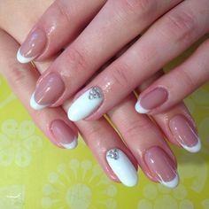 Beautiful French nails, Business nails, Exquisite nails, French manicure with rhinestones, Office nails, Oval French manicure, Oval nails, Perfect nails