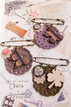 wood charm and crochet motif accessories