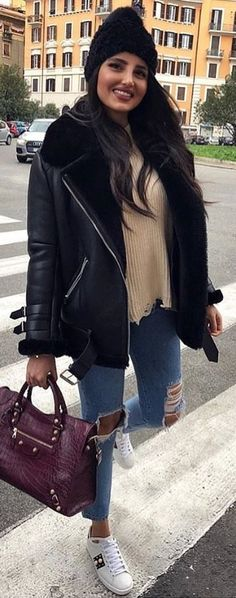 #winter #outfits black leather jacket