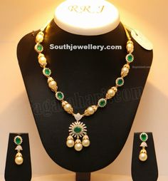 South Sea Pearls and Emerald Necklace ~ Latest Jewellery Designs Indian Jewellery Design, Bead Jewellery, Pearl Jewelry, Indian Jewelry, Jewelry Design, Latest Jewellery, Pearl Necklace Designs, Gold Earrings Designs, Light Weight Gold Jewellery