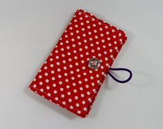 Red Polka Dot Fabric Business Card Holder - Free UK P #mayblossoms