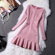 Winter Women Suede Dress Autumn Long Sleeve Pink Dresses 2017 Fashion New Party Dresses Womens Faux Suede Slim Vestidos