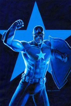 Captain America - Marvel - Prostate Cancer Variant, Greg Hildebrandt Blue Palette, Powerful Images, Captain America, Comic Art, Marvel Comics, Batman, Prostate Cancer, Superhero, Fictional Characters