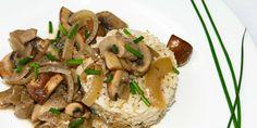 Pilzragout auf Reis