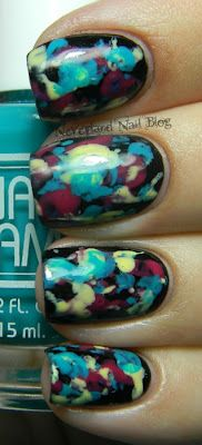 """Love this! The tutorial says """"I wrapped all the edges into the middle until the paper was in a misshapen ball. Then, I dabbed a fairly generous amount of polish on the paper ball and gently applied the colors (Bettina Aqua, Essence Mellow Yellow, and Zoya Dita) by repeatedly dotting them on my nail one at a time until I achieved the desired look. """""""