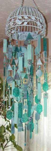 "♥♥ ♫ ♪ ""Arctic Blue Ice"" by stickman of ""STICKMAN STAINED GLASS WINDCHIMES"". Upcycled birdcage with stained glass winding in the wind. ♫ ♪"