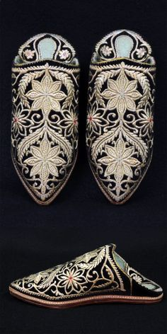 Africa | Pair of heavily decorated slippers (babouches) from Morocco | ca. last quarter 20th century