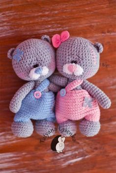 Crochet pattern Teddy Bears in Pants by magicfilament on Etsy ~ aren't these sweethearts ~ wouldn't this be cute for twins (whether boys or girls) or crochet for only one baby - now which one to choose!! ~ step-by-step instructions as well as very detailed photo tutorial ~ CROCHET these adorable little imps!