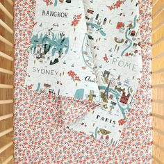Rifle Paper Co. Wholecloth Baby Quilt with City Maps and Rosa in Peach >> MADE-to-ORDER peach toddler quilt, map quilt, city crib quilt Baby Girl Quilts, Girls Quilts, Map Quilt, Quilt Top, Keepsake Quilting, Baby Quilt Patterns, Toddler Quilt, Map Canvas, Rifle Paper Co
