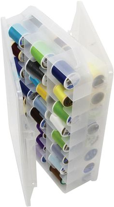 CREATIVE OPTIONS-Double-Sided Thread Organizer. Perfect for storing spools (up to 3x1-1/2 inches in size); floss; bobbins; and small embellishments. The organizer has two hinged doors so access is eas...